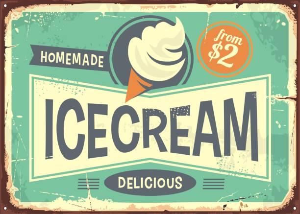 ilustrações de stock, clip art, desenhos animados e ícones de ice cream promotional retro poster - sorvete