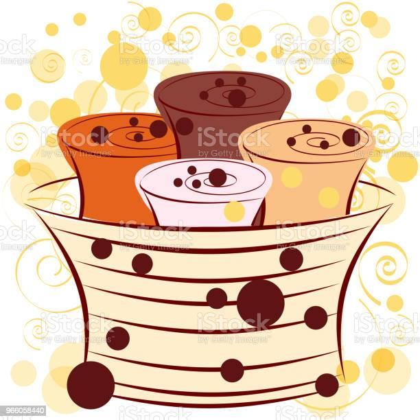Ice Cream Roll With Chocolate - Arte vetorial de stock e mais imagens de Castanho