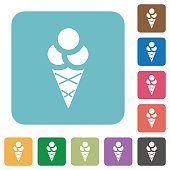 Ice cream rounded square flat icons