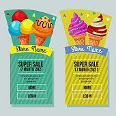 ice cream sale banner vertical object promotion banner vector template