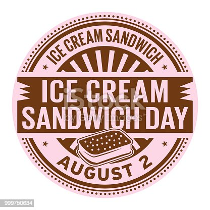 Ice Cream Sandwich Day, August 2, rubber stamp, vector Illustration