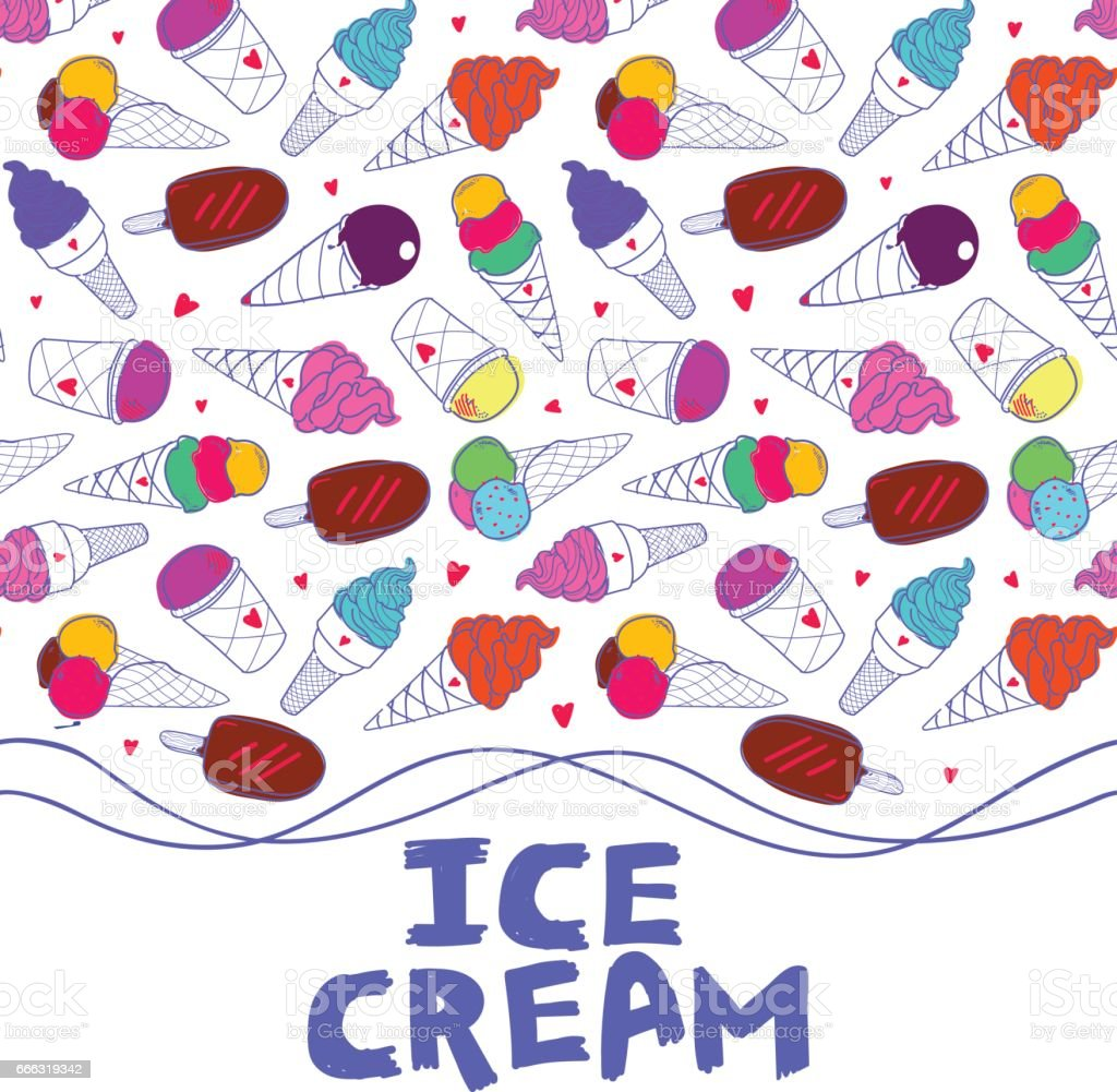 Ice Cream Seamless Border Light Stock Illustration