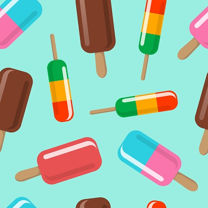 Ice cream seamless pattern. Various ice cream on a stick on a light background. Vector 3d background.