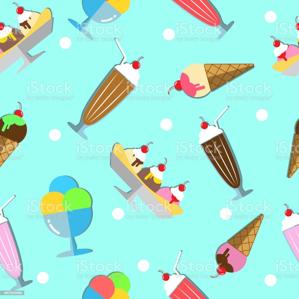 Ice Cream Seamless Pattern vector art illustration