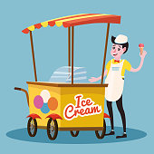 Ice cream seller, cart, vector, illustration, cartoon style, isolated