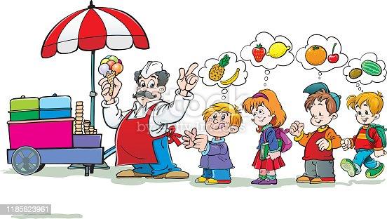 istock Ice cream seller with children. 1185623961