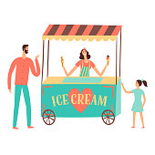 Ice cream seller with customers.