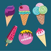 Set of colorful ice creams with various shapes and flavors.