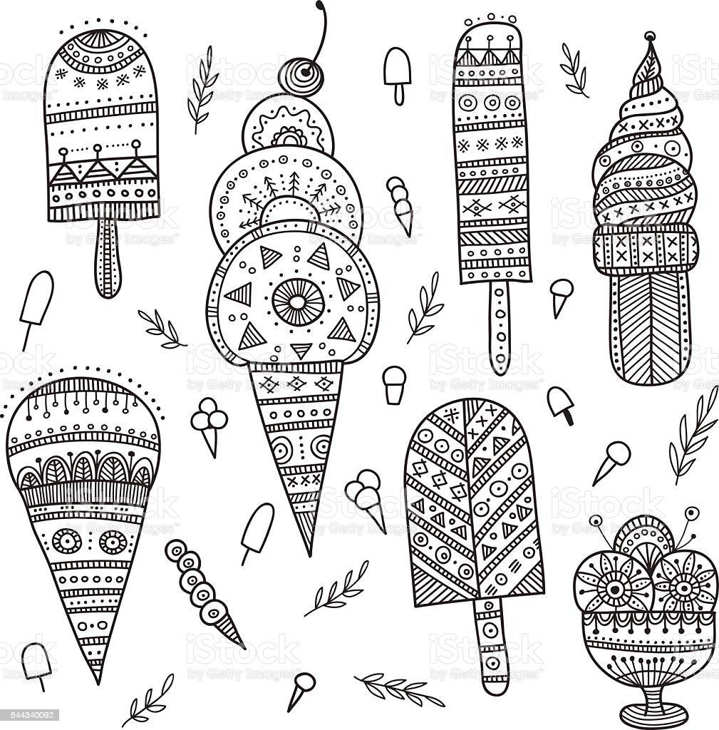 Glace ethnique décorés dans un style bohème. - clipart vectoriel de Abstrait libre de droits