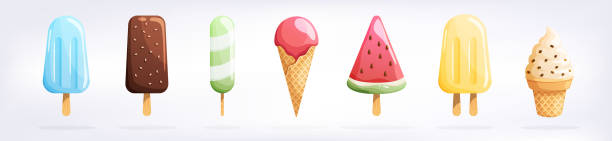 白い背景に分離されたアイスクリームセット。夏のカラフルな背景。おいしいかわいい食欲をそそる食品コレクション。シンプルでリアルなモダンデザイン。フラットスタイルのベクターイ� - アイスクリーム点のイラスト素材/クリップアート素材/マンガ素材/アイコン素材