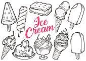 Ice cream set of sweet dessert popsicle, sandwich, watermelon, cone, chocolate cream. Hand drawn engraving sketch retro vintage vector illustration.
