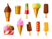 Ice cream set. Realistic vector illustration. Popsicles, ice cream cone, chocolate ice cream.