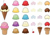 A vector illustration of a variety of ice cream cone parts: cones, scoops of ice cream, sprinkles, toppings and a cherry. Pieces are grouped and can very easily be rearranged into any kind of ice cream cone you like! AI10 and AI12 files also included.