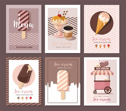 Ice cream shop cards. Sweet food desserts. Set of flyer collection, banner shop, dessert.