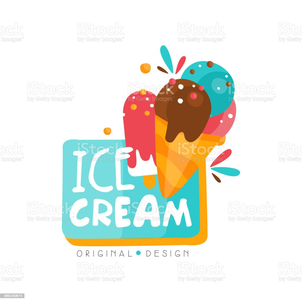 Ice cream shop logo design template, label for bar, cafe, menu, sweet shop vector Illustration on a white background royalty-free ice cream shop logo design template label for bar cafe menu sweet shop vector illustration on a white background stock vector art & more images of cafe