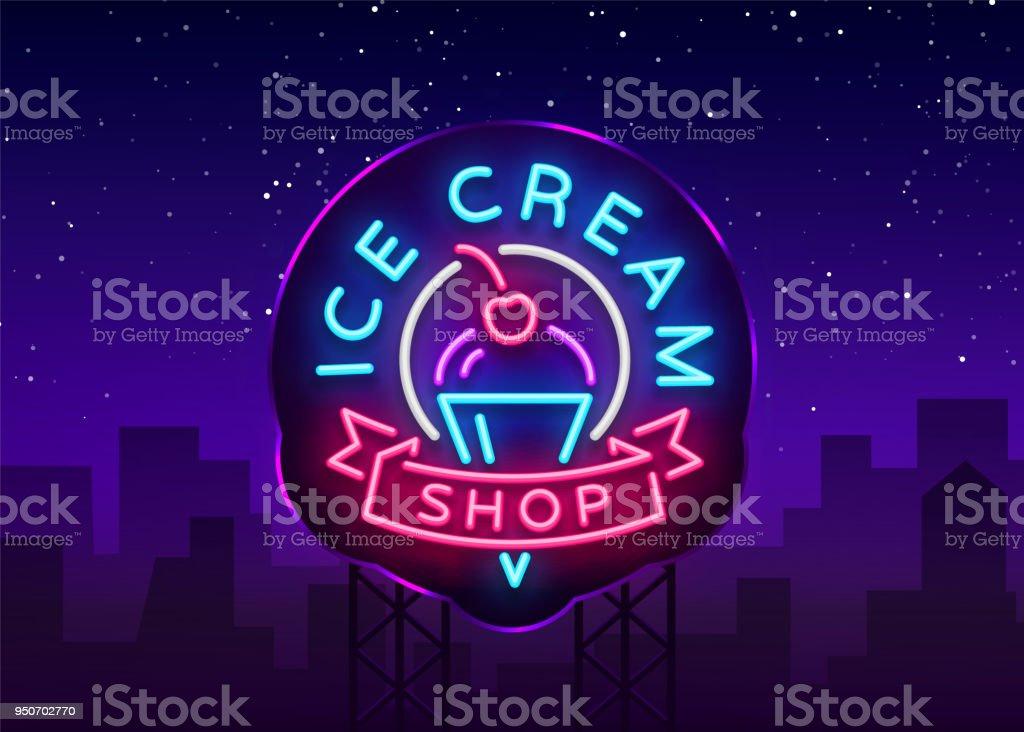 Ice Cream Shop Leuchtreklame Eisdiele In Neonstil Symbol Leichte ...