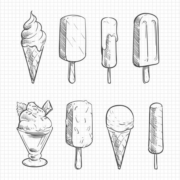 eis-skizze-sammlung - schulbedarfskuchen stock-grafiken, -clipart, -cartoons und -symbole
