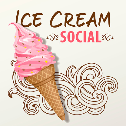 An ice cream social for the summer with strawberry ice cream on the wave pattern