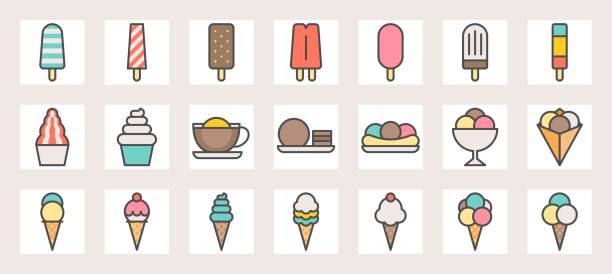 Ice cream, soft serve,ice shave, scoop in crape and popsicle filled color line icons size 128 px , 4 px stroke width, on grid vector art illustration