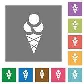 Ice cream square flat icons