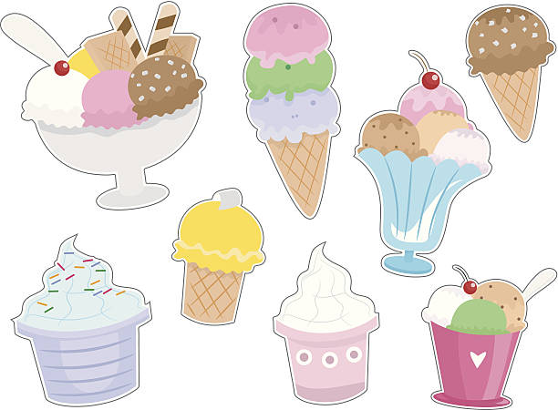 Ice Cream Stickers Illustration of Different Types of Ice Cream Ready to be Printed as Stickers bowl of ice cream stock illustrations