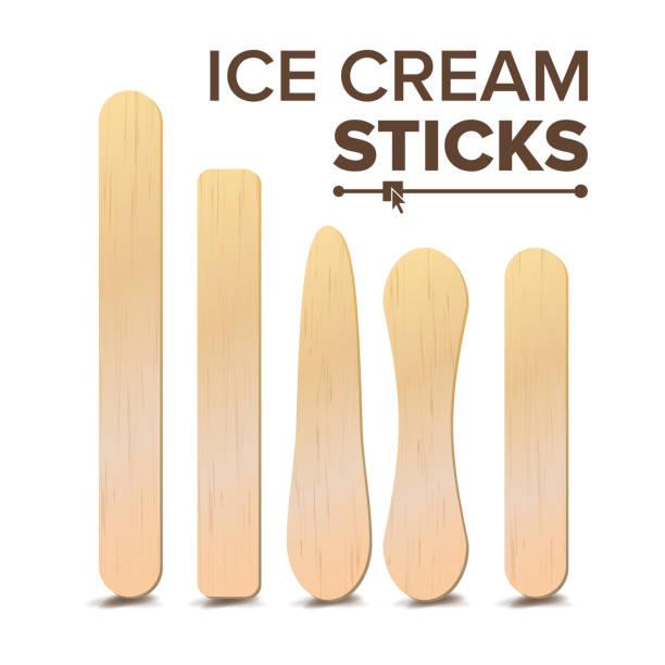 stockillustraties, clipart, cartoons en iconen met ijs stokken set vector. verschillende typen. houten stick voor ijs, medische tong depressor. geïsoleerd op een witte achtergrond afbeelding - ijslollie bevroren zoetigheid