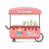 Ice cream street food cart. Colorful vector image