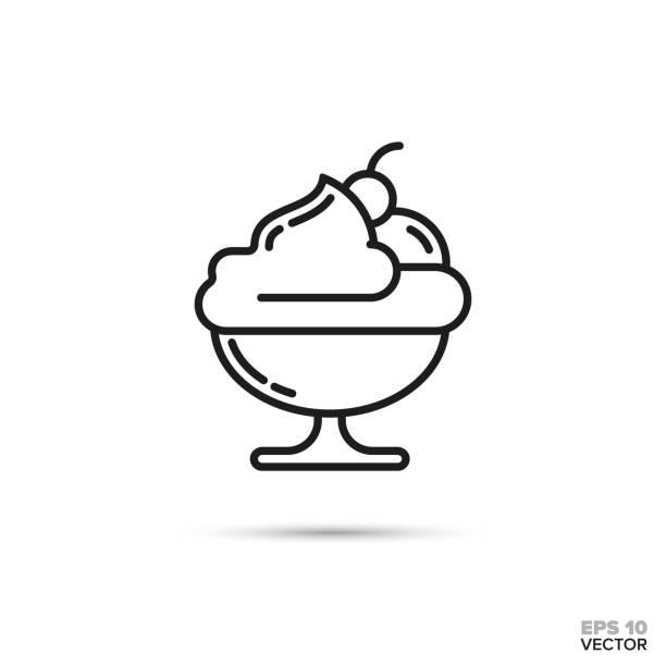 Ice cream sundae bowl vector line icon Sundae ice cream dessert in a bowl vector line icon. Sweet food symbol. ice cream sundae stock illustrations