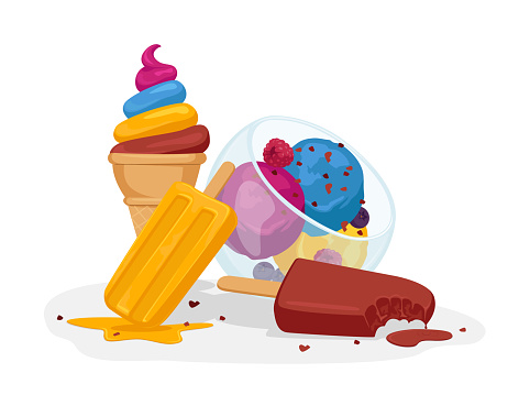 Ice Cream Various Types. Sweet Dessert Balls in Glass Cup, Sundae Scoop Balls with Sprinkles, Chocolate Popsicle, Fruit Frozen Meal on Stick, Waffle Cone Icecream Dessert. Cartoon Vector Illustration