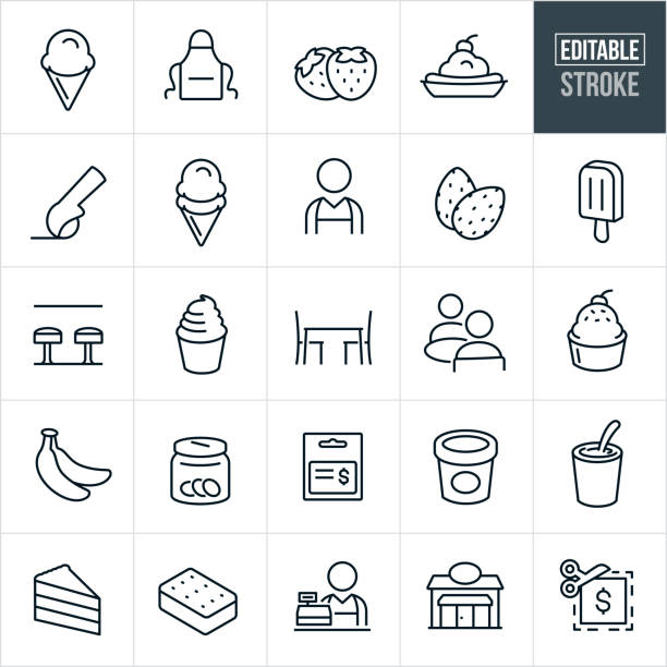 Ice Cream Thin Line Icons - Editable Stroke A set ice cream icons that include editable strokes or outlines using the EPS vector file. The icons include ice cream, ice cream cone, banana split, apron, strawberries, ice cream scoop, almonds, nuts, popsicle, worker, person, ice cream shop, soft serve ice cream, seating, seated, people, customers, bananas, tip, gift card, pint of ice cream, shake, cake, ice cream sandwich, cashier and coupon. scooping stock illustrations