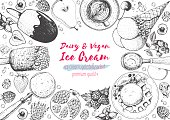 Ice cream top view frame. Vector sketch for vintage menu design. Hand drawn food elements with ice cream, berries and fruits. Healthy dessert