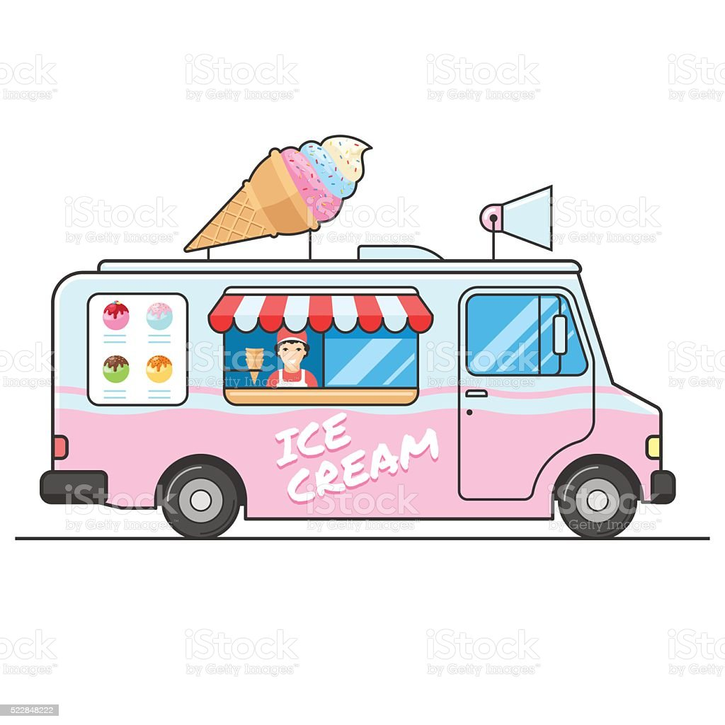 ice cream truck side view stock vector art more images of rh istockphoto com