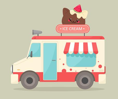 Ice cream truck. Vector illustration in cartoon flat style. Sale of ice cream on the street.  Cartoon style.
