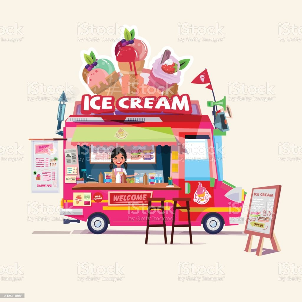 ice cream truck with cute seller. food truck concept - vector vector art illustration