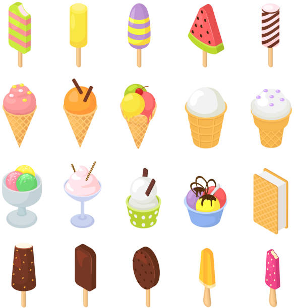 Ice cream vector icecream in cone with chocolate vanilla and iced creamer dessert on scoop illustration icing candy icy cream isometric set isolated on white background vector art illustration