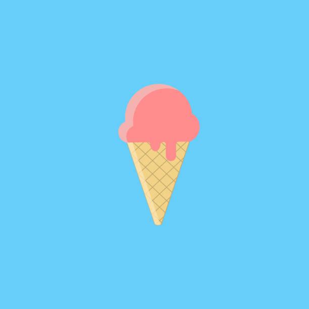 ilustraciones, imágenes clip art, dibujos animados e iconos de stock de helado. ilustración de vector de logo, banners, páginas web. aislado sobre fondo azul - ice cream cone
