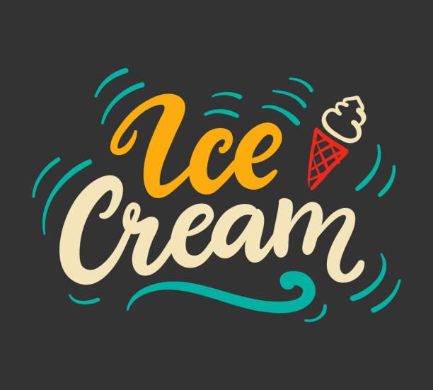 手書きの現代書道とアイスクリーム ベクトル ロゴバッジ - アイスクリーム点のイラスト素材/クリップアート素材/マンガ素材/アイコン素材