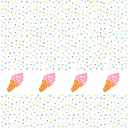 Ice cream vector seamless pattern