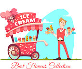 Ice cream vendor with cart. Best flavour collection. Vector illustration