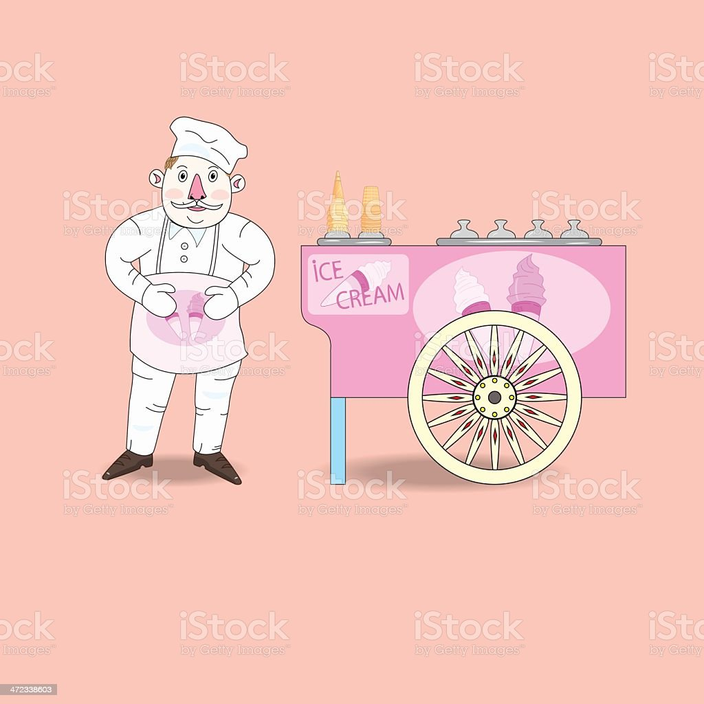 Ice cream vendor with cart. royalty-free ice cream vendor with cart stock vector art & more images of abstract