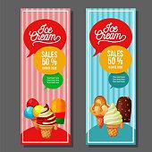 ice cream vertical banner popsickle sundae scoop. promotion banner vector template.