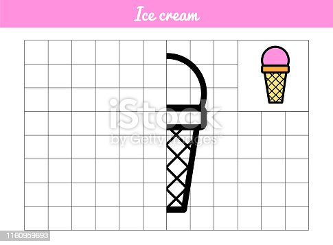 Ice cream Waffle cup with ball. Copy the picture along the grid line. Vector coloring book for educational game. Illustration with a simple picture for the youngest children. With a sample for painting