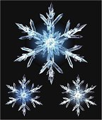 Illustration of a shiny ice crystal isolated on black. Fully editable, grouped and labeled in layers.