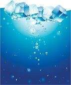 Ice cubes in water. Vector artwork