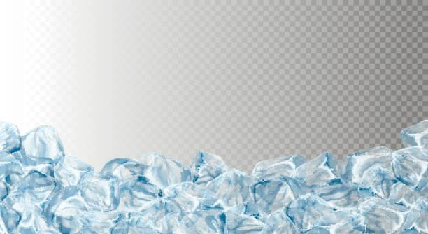 Ice cubes, realistic set. Ice cubes, realistic set, , vector illustration. Blue Ice collection, isolated, refresh, white, seamless horizontal background. ice stock illustrations