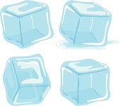 Ice cubes and melted ice cube vector set on white background.