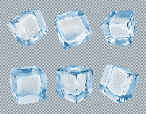 Ice cubes vector set Realistic vector illustration isolated on transparent background ice stock illustrations