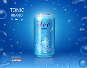 Ice drink metallic can. Tonic advertising on blue background with bubbles 3d.