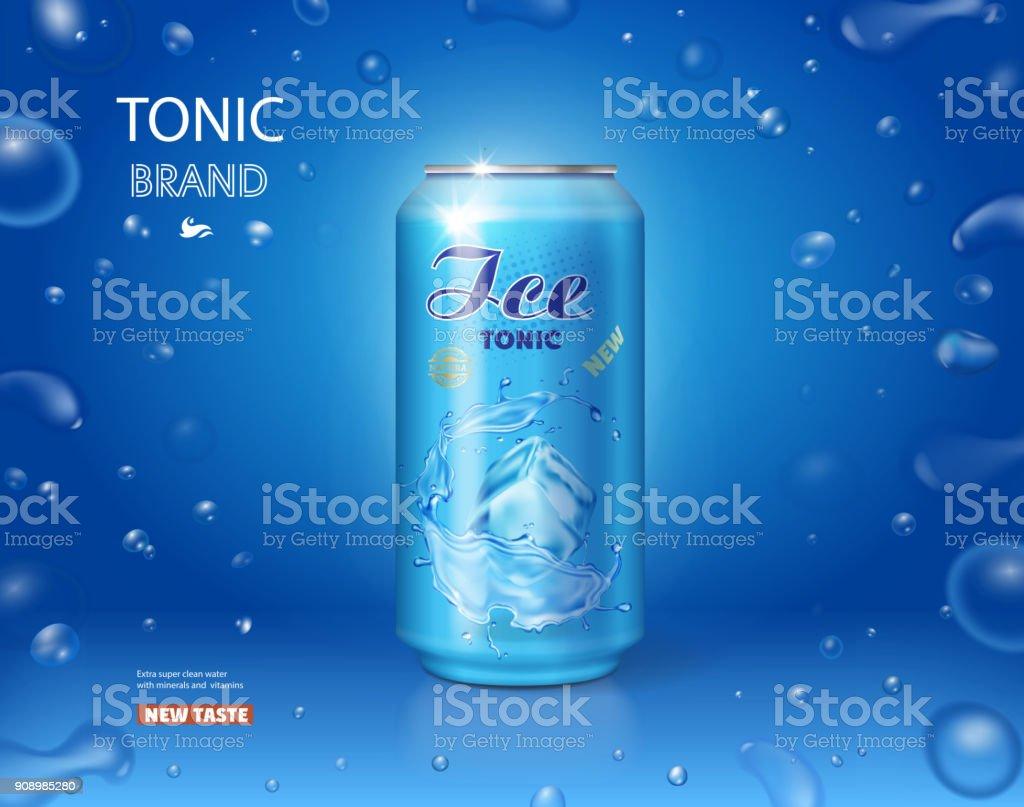 Ijs drankje metalen kunt. Tonic reclame op blauwe achtergrond 3dvectorkunst illustratie