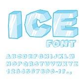 Ice font. Cold letters. Transparent blue alphabet. Frosty alphab